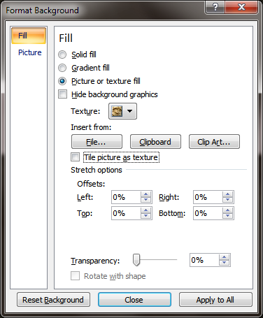 Format Background dialog box in PowerPoint 2007
